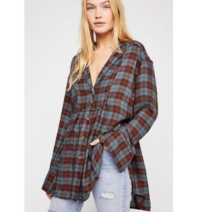 Free People All About the Feels Plaid Button Tunic